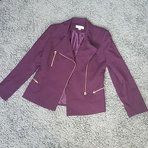 Eggplant Calvin Klein fitted blazer w gold zippers